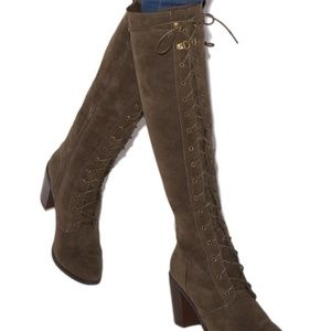NIB Olive Green Lace Up Heeled Boot
